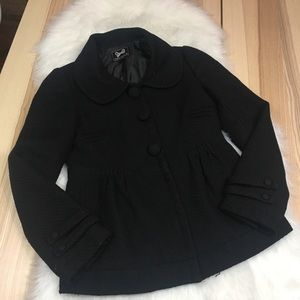 Forever 21 Woven Black Collared Button Up Coat